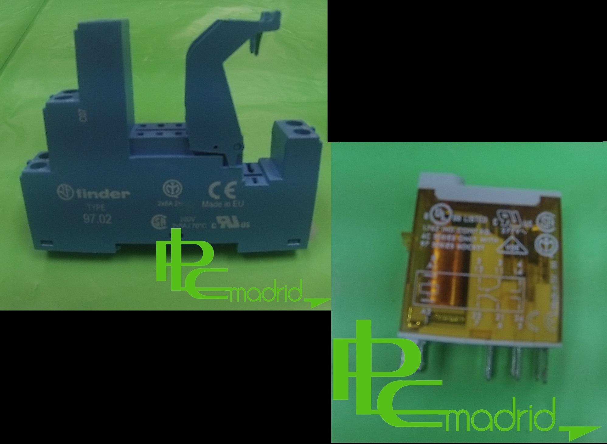 Relé auxiliar con accionamiento + manual contacto conmutado 16A