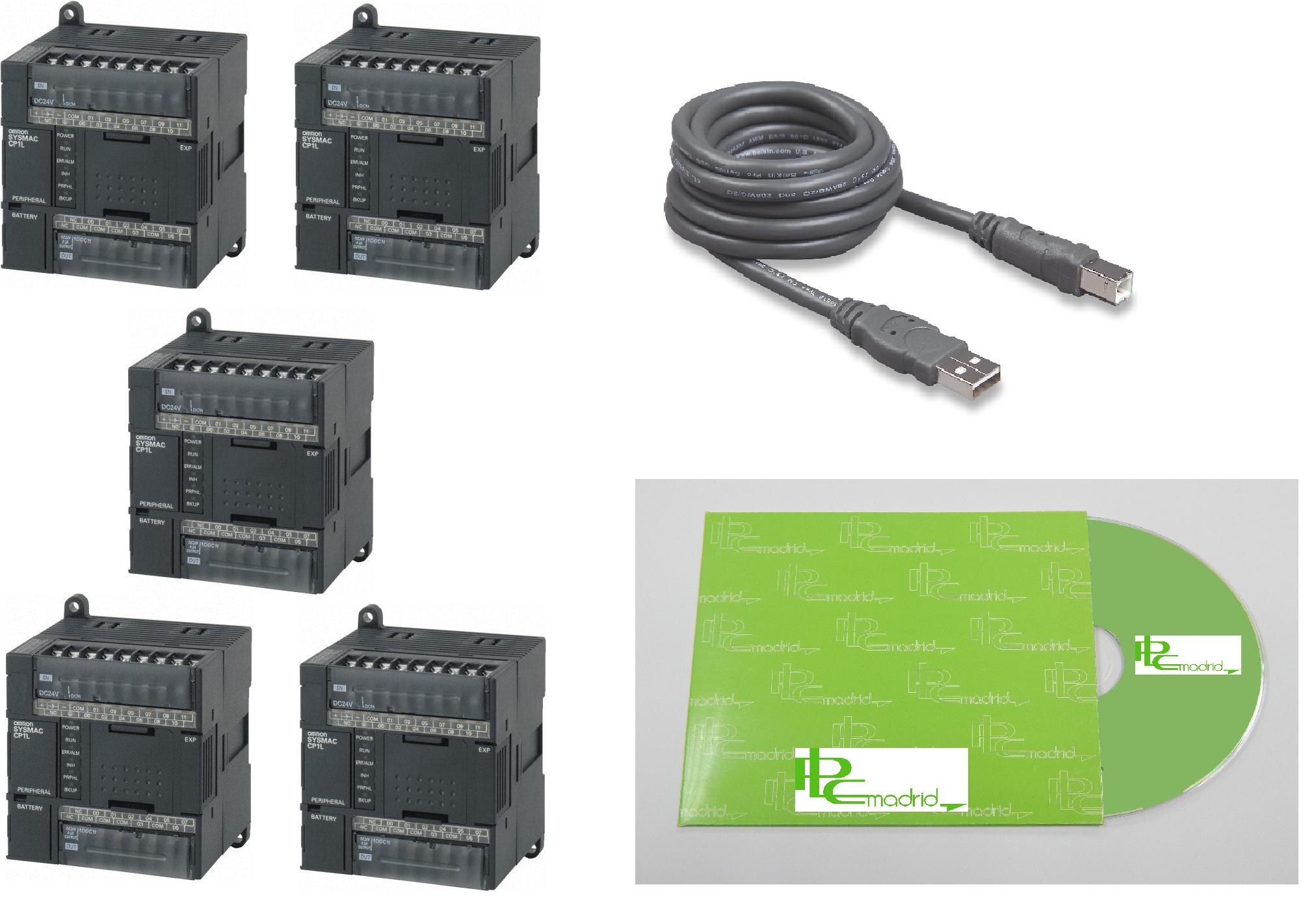 Autómata CP1L-L14DR-A(5 unidades) + Cable conexión PC + CD Formación