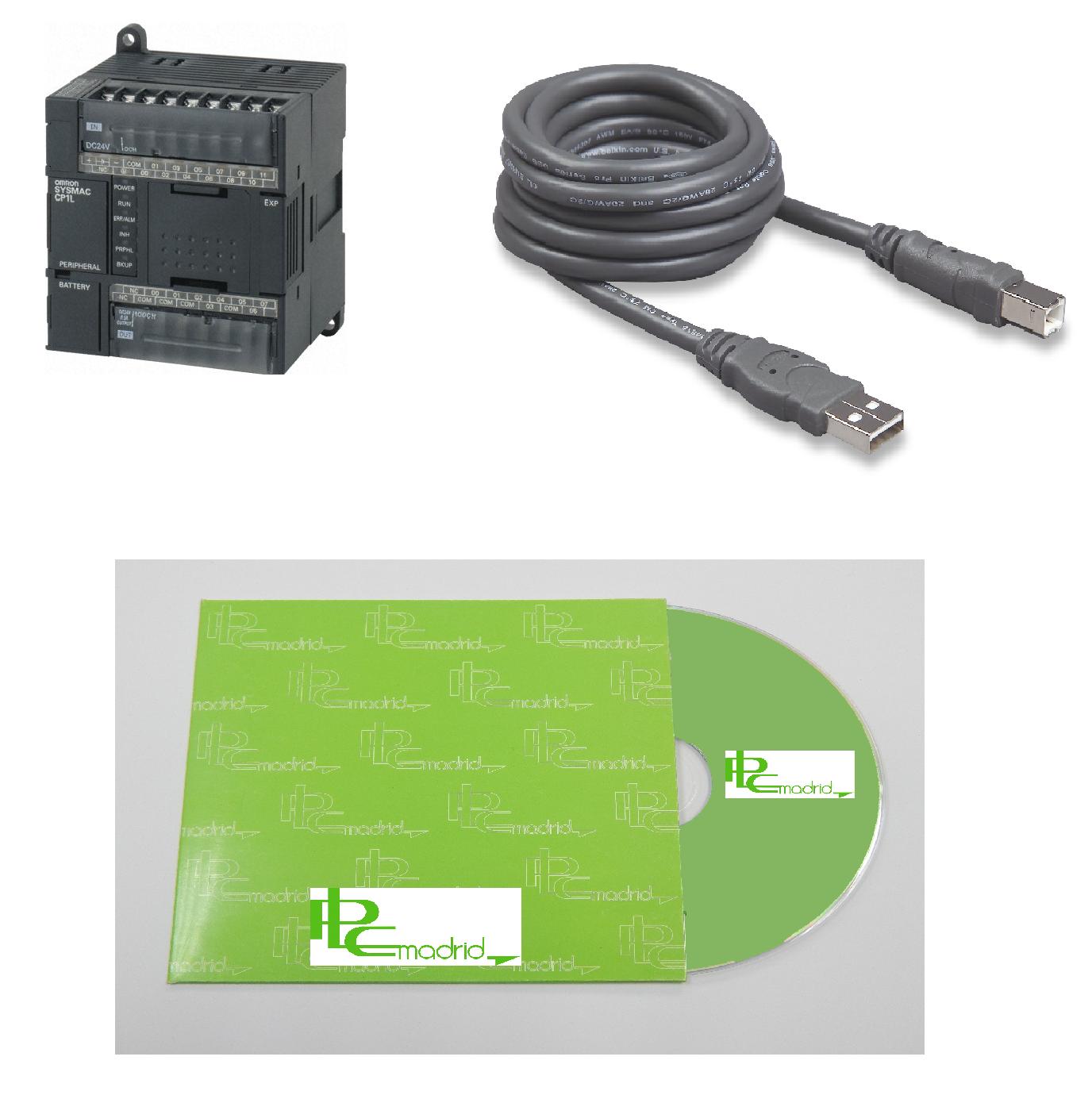 Autómata CP1L-L14DR-A + Cable conexión PC + CD Formación